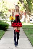 Sophie Monk as sexy ladybug arrives at an early Halloween party -